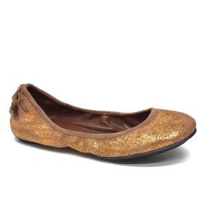 COLE HAAN M SHARAPOVA Gold Ballet Flats 5 B